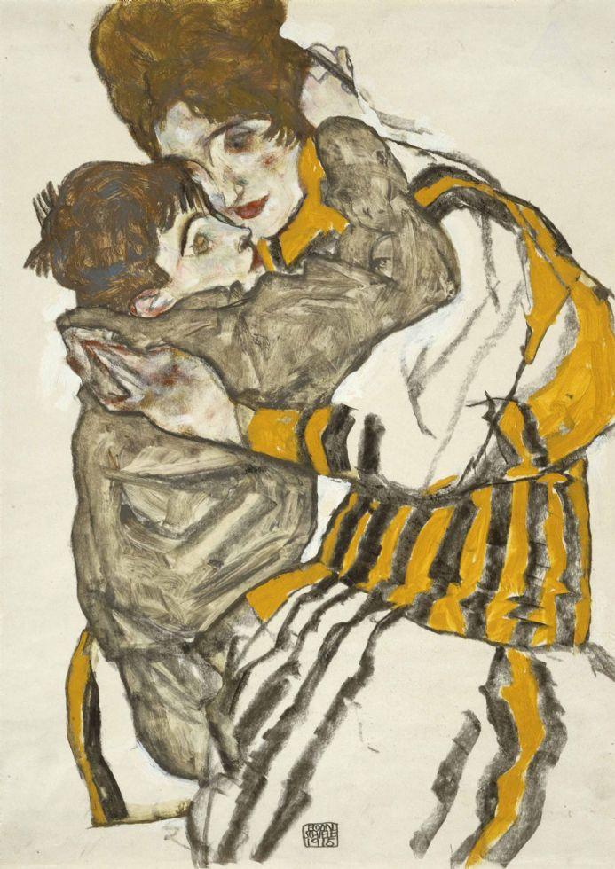 Schiele, Egon: Schiele's Wife with Her Little Nephew. Fine Art Print.  (003709)